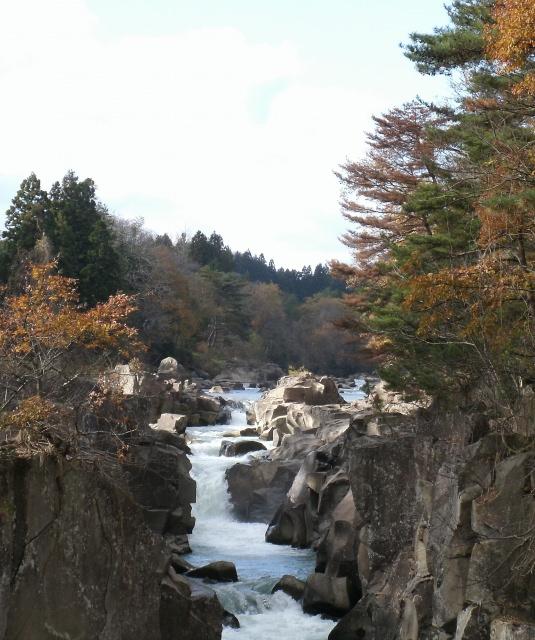 4. 包圍溪流的紅葉與在空中飛的丸子「嚴美溪」